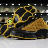 "Hot Air Jordan 13 Low ""Chutney"" AJ13 Men Shoes Suede Black/Yellow"