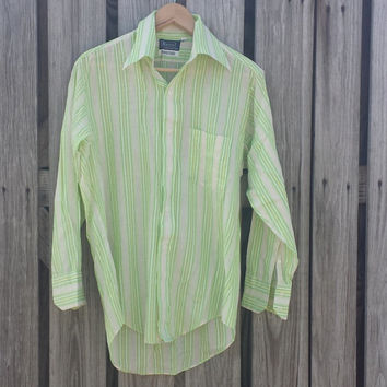 Vtg 70s Men's Shirt Pointed Collar - 15 - 32 Marco by William Gary - Lime Green