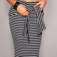 Black Striped Tie Front Pencil Bodycon Midi Skirt