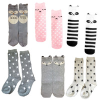6 Designs Baby Socks Children Boy Girl Training Sock Cotton Infant Knee High Tube Socks for Autumn and Winter 6 Pairs