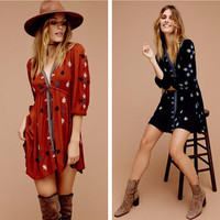 """Free People"" Fashion Retro Multicolor Embroidery V-Neck Middle Sleeve Mini Dress"