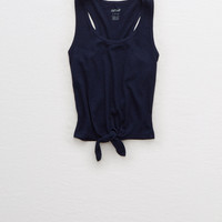 Aerie Tie Front Tank , Medium Heather