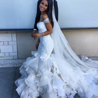 2015 Unique Design Sexy Mermaid Wedding Dress Floor Length Off the Shoulder Tight Bodice Bridal Gowns with Ruffled Skirt