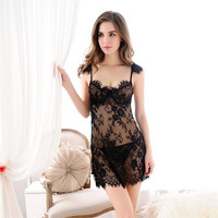 Hot Sale Thick Long Hot Deal Lace With Steel Wire Sexy Sleepwear Spaghetti Strap Dress False Eyelashes [4918216900]