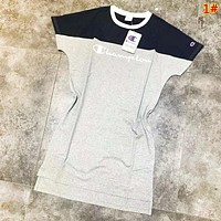 Champion Fashion New Bust Embroidery Letter Contrast Color Women Short Sleeve Dress 1#