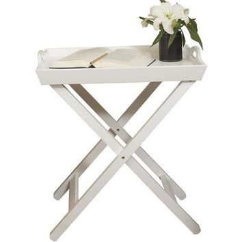 Country - Folding tray side table, accent table, white lacquered