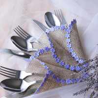 Lavander Wedding, Burlap Silverware Holder, Purple Wedding, Wedding Table Plan, Rustic Wedding Decoration, Lavender Cutlery Holder, Burlap