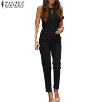 Zanzea Fashion Bodycon Jumpsuits 2017 Womens Sleeveless Lace Patchwork Rompers Playsuits Black Pants Plus Size XS-4XL