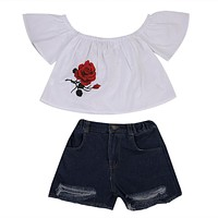 Kid Girls Clothing Set Toddler Baby Girl Off shoulder T-shirt Tops Shirt+ Denim Shorts Jeans Outfits 2Pcs Girls Clothing