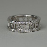 Solid Gold Eternity Roman Numeral Ring with Diamonds. Fully personalized text. Jewelry available in 14k/18k yellow, rose and white gold