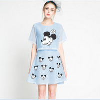 Mickey Mouse Graphic Chiffon Mesh Top and Skirt