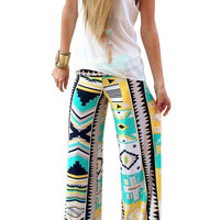 Geometric Print Loose High Waist Trouser