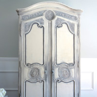 Vintage HENREDON French Country Louis XV Style Shabby Chic Weathered Antique White and Grey Armoire / Entertainment Center / Wardrobe