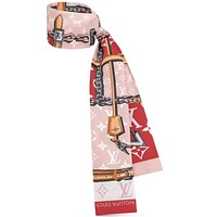 LV 2019 new classic old flower pattern female hair band small scarf red