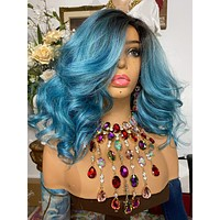 """MERMAID TURQUOISE blue 4x4 long bob lace front wig 12"""" long + Undetectable hairline + Lots of Volume and Curls 1-18"""