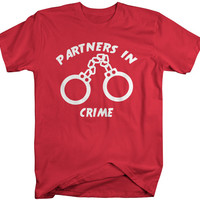 Unisex Best Friend Shirts Partners In Crime Handcuff Hipster T-Shirt Funny Shirts Couples Matching Tees For Besties BFF's