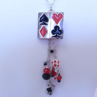 Playing Cards Charm Necklace - Poker, Chain, Silver, Alice in Wonderland, Ace, Spade, Club, Diamond, Card Suits, Games