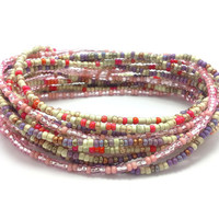3 Stretch seed bead wrap bracelets, stacking beaded bracelets, boho anklet, bohemian, stretchy stackable multi strand, pink red purple white