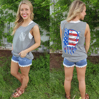 Home sweet home flag shield f/b comfort colors tank top-more colors