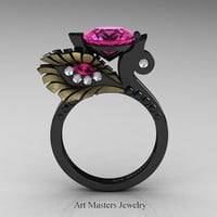High Fashion Nature Inspired 14K Black Yellow Gold 3.0 Ct Pink Sapphire Diamond Marquise Eye Engagement Ring R359S-14KBYGDPS