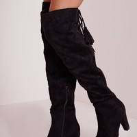Missguided - Heeled Knee High Tie Back Boots Black