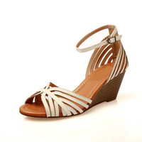 Stylish Design Summer Leather Wedge Vintage Peep Toe Roman Shoes High Heel Sandals [4918349828]