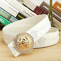 Versace New fashion tiger buckle leather couple belt White