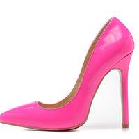 Red Bottom Pointed Toe Heels - Hot Pink