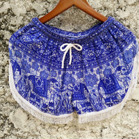 Fringe shorts elephants print fabric tassles Boho pattern Gypsy Tribal Styles Beach festival Clothing Bohemian Summer Clothes Chic in blue