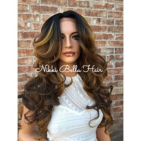 Toffee Cream Bayalage Curly Human Hair Blend Lace Wig 24""