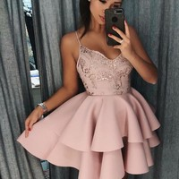 Pink Spaghetti Straps Homecoming Dresses,Sequin Stain Tiered Short Homecoming Dresses