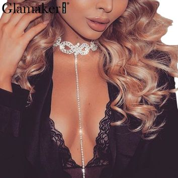 Glamaker party silver necklace jewelry collar Women rhinestone choker necklace chain pendant necklace long accessories bijoux