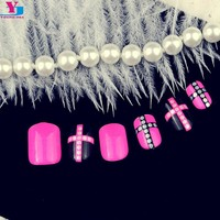 24pcs/set Rose False Nails Acrylic Nail Tips Pre Design 3D Fake Nails Cute Acessorios Para Mulher Nep Nagels Free Glue Manicure