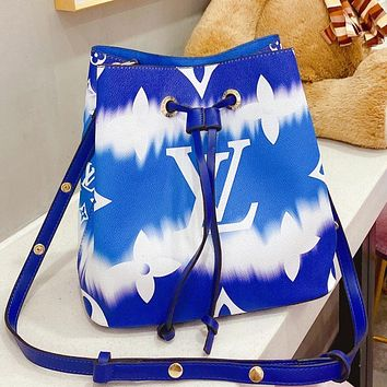 Louis Vuitton LV bucket series rainbow bucket bag Néonoé crossbody bag Blue&White