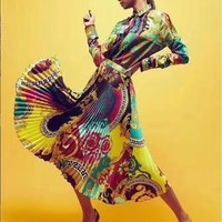 """""""VERSACE"""" Woman's Leisure Fashion Letter Personality Printing Long Sleeve Long Skirt Two-Piece Set Casual Wear"""