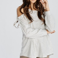 Striped Cold Shoulder Tie Sleeve Top - 2 Colors