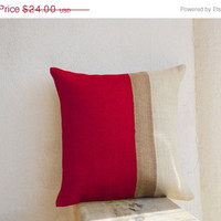 Valentine SALE Burlap Pillows - Red Burlap Pillow color block - Red Decorative cushion cover- Red Throw pillow gift 12x12 - Red Euro Sham -