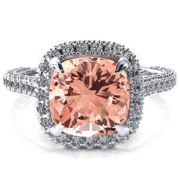 Taniya Cushion Champagne Sapphire 4 Claw Prong Halo 3/4 Eternity 3 Sided Diamond Shank Cathedral Engagement Ring