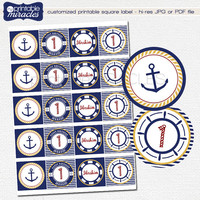 Nautical cupcake toppers, Printable nautical party decor square labels, Custom nautical stickers, nautical theme cake topper, navy and red