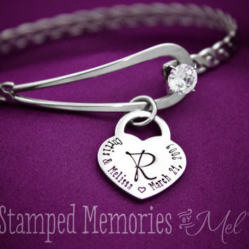 Wedding Bangle - Hand Stamped Bracelet - Personalized Bridal Gift - Wife Anniversary Present - Monogram with Names & Date - Fiancee Jewelry