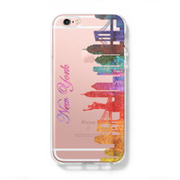 Watercolor New York Skyline iPhone 6s 6 Hard Clear Case iPhone 6s Plus Transparent Case Galaxy S6 Edge Case C115