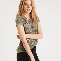 AE Roll Sleeve Embroidered Camo T-Shirt, Olive