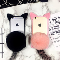 Cute Furry Cat Tail Case Cover for iPhone 5se 5s 6 6s plus