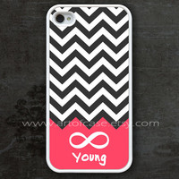 chevron iphone 4 case, infinity iphone 4 case, Forever young iphone 4 case, white iphone 4s case, beautiful free gift box