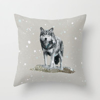 NEW *** GLITTER WOLF Throw Pillow by M✿nika  Strigel	 | Society6  in three sizes and for iphone , ipad, ipad mini, skins and prints!