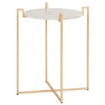 Baxter Hollywood Regency Gold White Marble Side Table