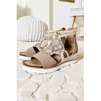 Browning Snake Printed Sandals   Taupe