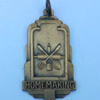 Vintage Art Deco HOMEMAKING Necklace Pendant Baking Cooking Sewing 4h Award
