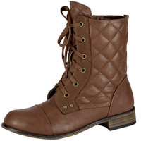 Womens Ankle Boots Quilted Tonal Stitch Combat Lace Up Shoes Tan SZ