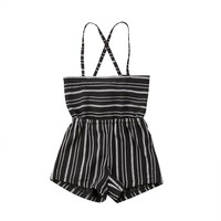 Pudcoco Girl Clothes Summer Toddler Kids Baby Girls Off Shoulder Rompers Jumpsuits Playsuit Shorts